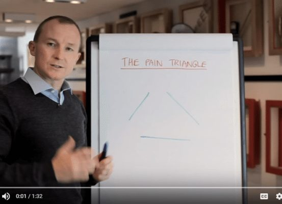 John Colbert giving talk on The Pain Triangle, a tool for leaders to manage team members who aren't on board with company changes.