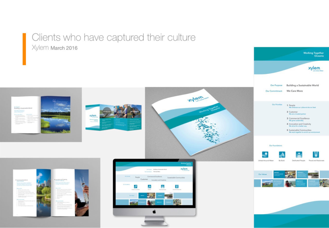 Portfolio of Corporate Edge's work with Xylem to capture their culture (brochures, websites and documents)