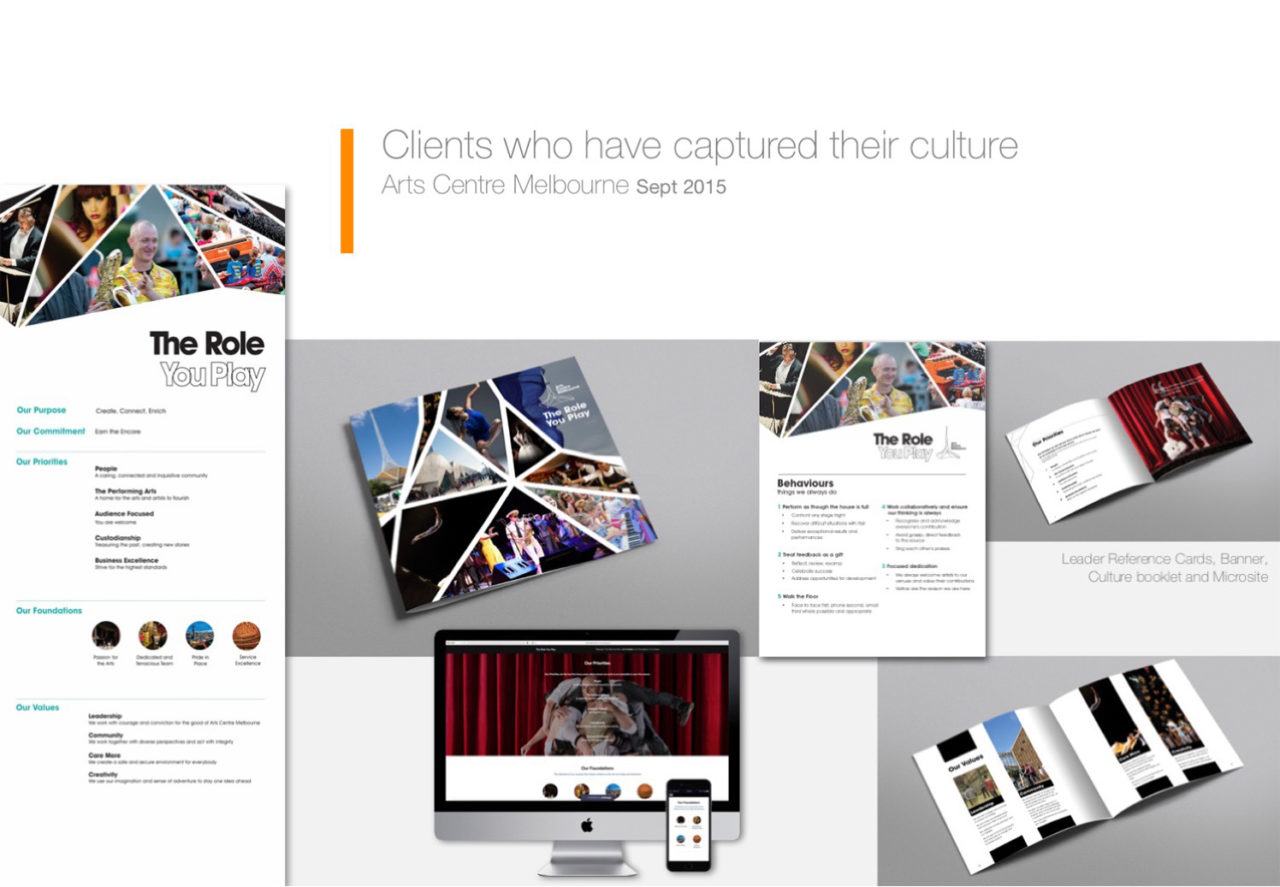 Portfolio of Corporate Edge's client Arts Centre Melbourne, to capture their culture (brochures, websites and documents)