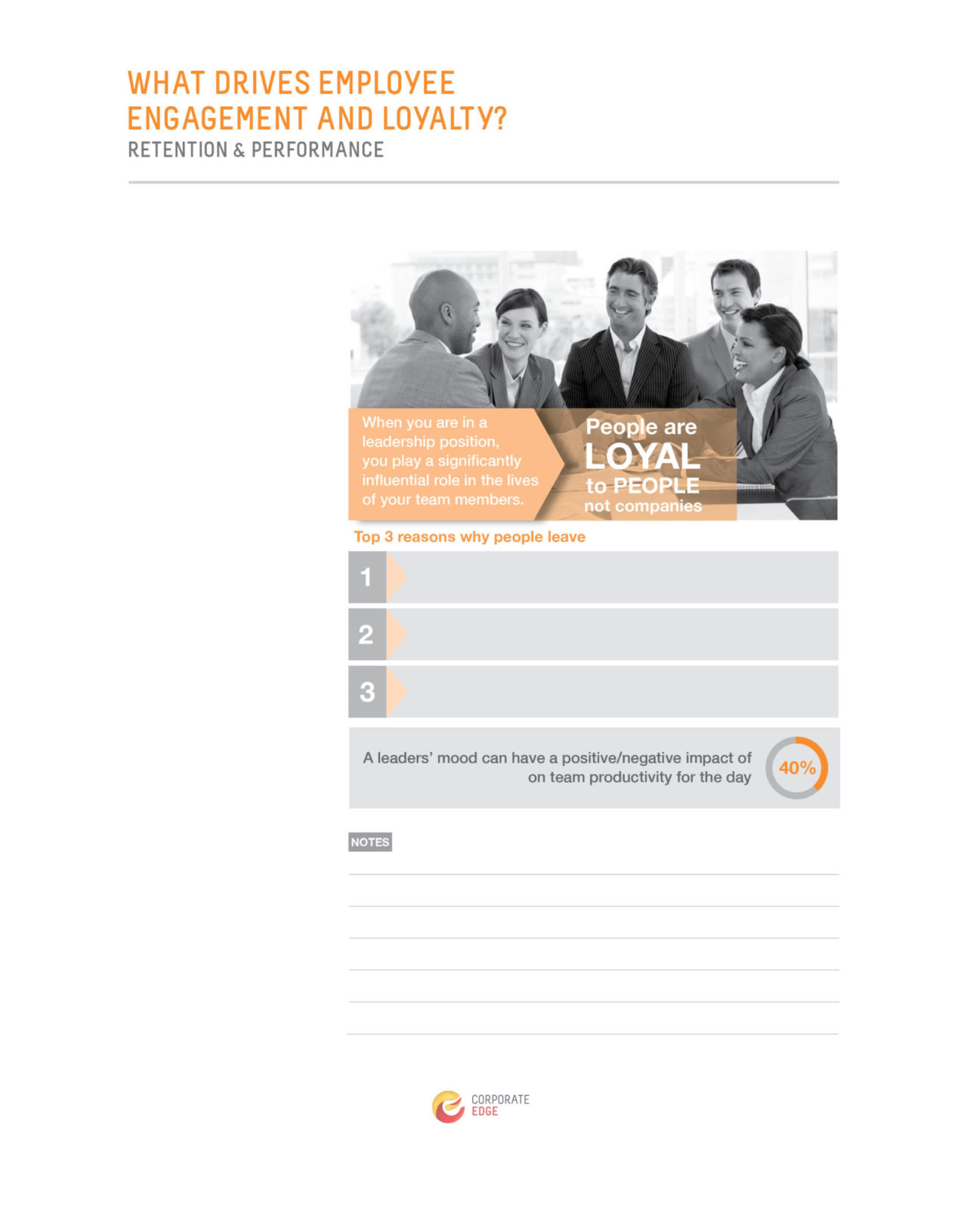 image of workbook - 'What drives employee engagement and loyalty' - as part of Corporate Edge's blended learning corporate coaching program