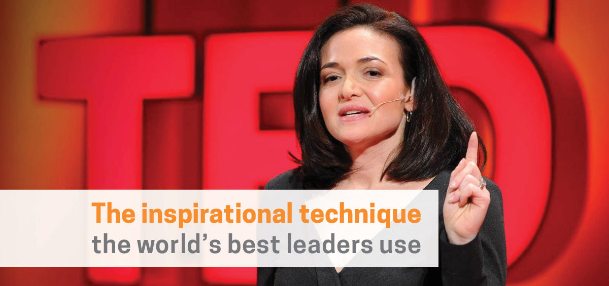 Sheryl Sandberg at inspirational TED talk on leadership - header image for storytelling to embed company culture article